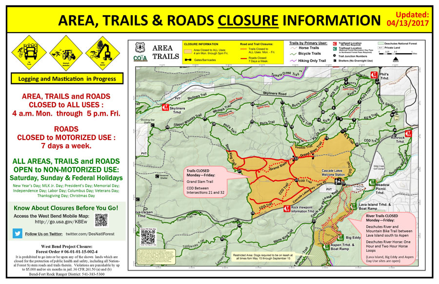 Phils Trail Area Closure Alert Bend Oregon
