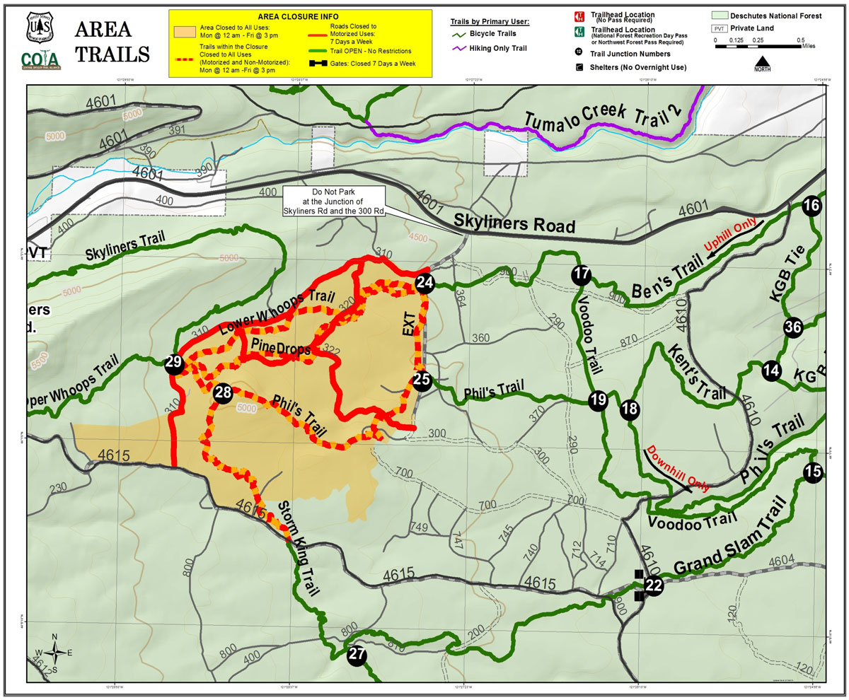trail closures near Phil's Trail network west of Bend, Oregon from May 7, 2021