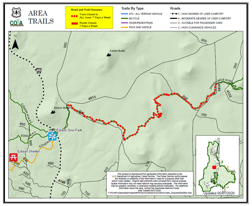 A map of temporary trail closures on the Deschutes National Forest